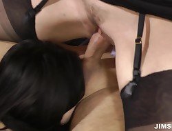 Mischievous dark brown beauty Ava chokes on a wang
