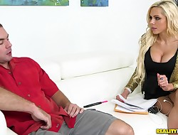 Stunning blond Nina Elle and beau have a fun hardcore