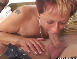 Old grannie swallows two cocks at once