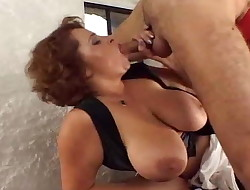 Ginormous tits waitress gets some dicks